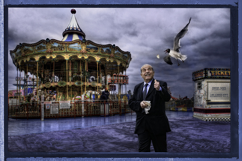 HAPPY GO LUCKY: Jim LaSala created this award-winning, surrealistic photo composition from the two images below.