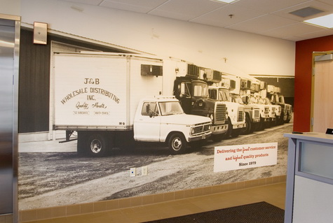 Chris Lommel's mural-size enlargement decorates the reception area of a facility of the J&B Group.