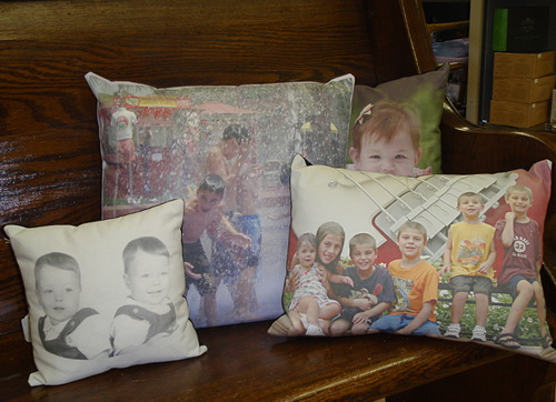 In their gift shop, the Ryans sell custom photo pillows created with inkjet-printable 3P Country Cotton FR from LexJet.