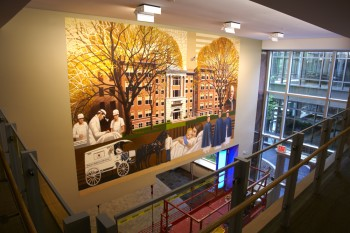 Printing wall murals on inkjet canvas
