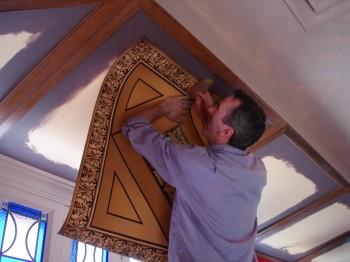 Installing inkjet printed ceiling panels