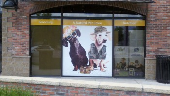 Printing window murals with a large format inkjet printer