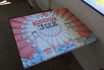 Wrapping tabletops to promote a brand