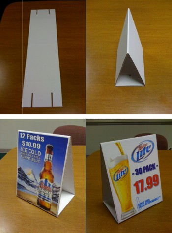 Table tents and display stands for promotions