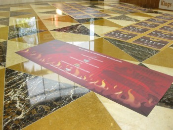 Applying floor graphics on marble