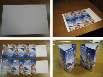 Three sided table tents for tabletop point of sale promotions