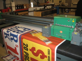 Printing signs with a UV curable inkjet printer