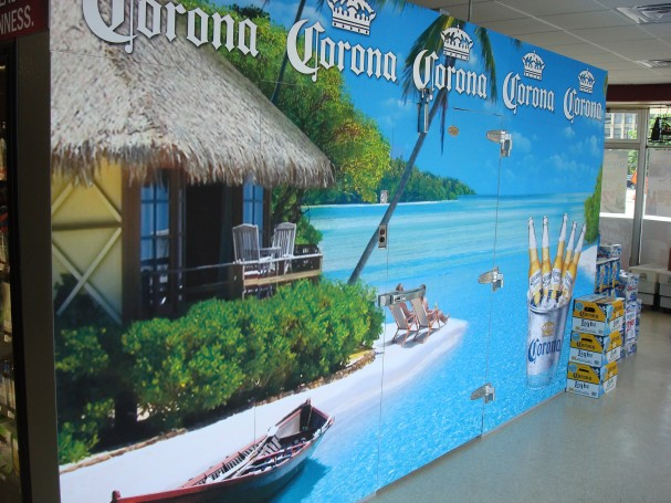 Printing cooler wraps for liquor stores