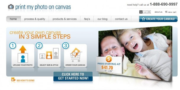Canvas printing website