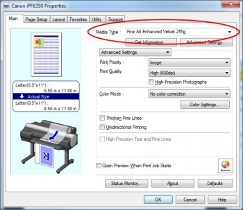 Creating profiles for an inkjet printer