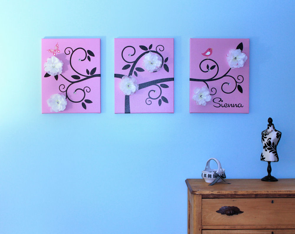 Childrens Wall Decor Canvas : One hip sticker chic wall art that grows with inkjet