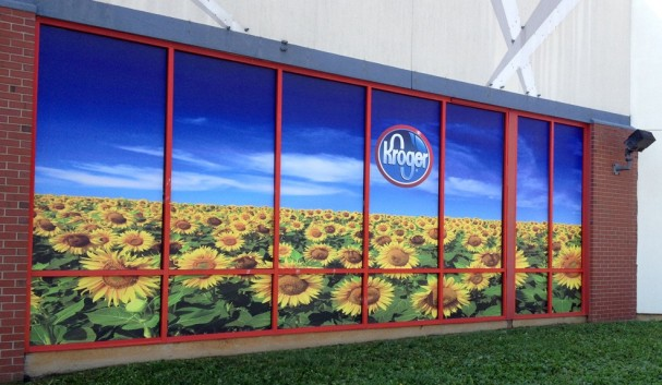 Window graphics for a grocery store chain