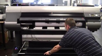 Installing the media take-up unit on Canon printers