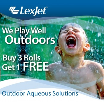 Buy 3 rolls of LexJet outdoor aqueous inkjet media and get another free