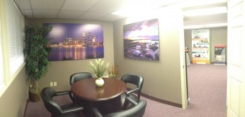 It's a natural progression from Spectra Imaging's new showroom into the conference room.