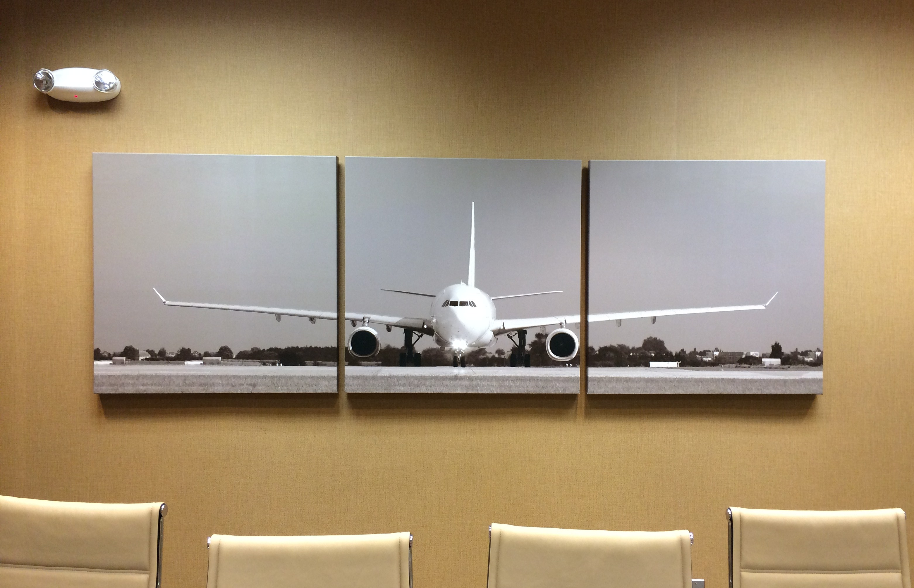 rolling down the runway with an inkjet printed canvas triptych