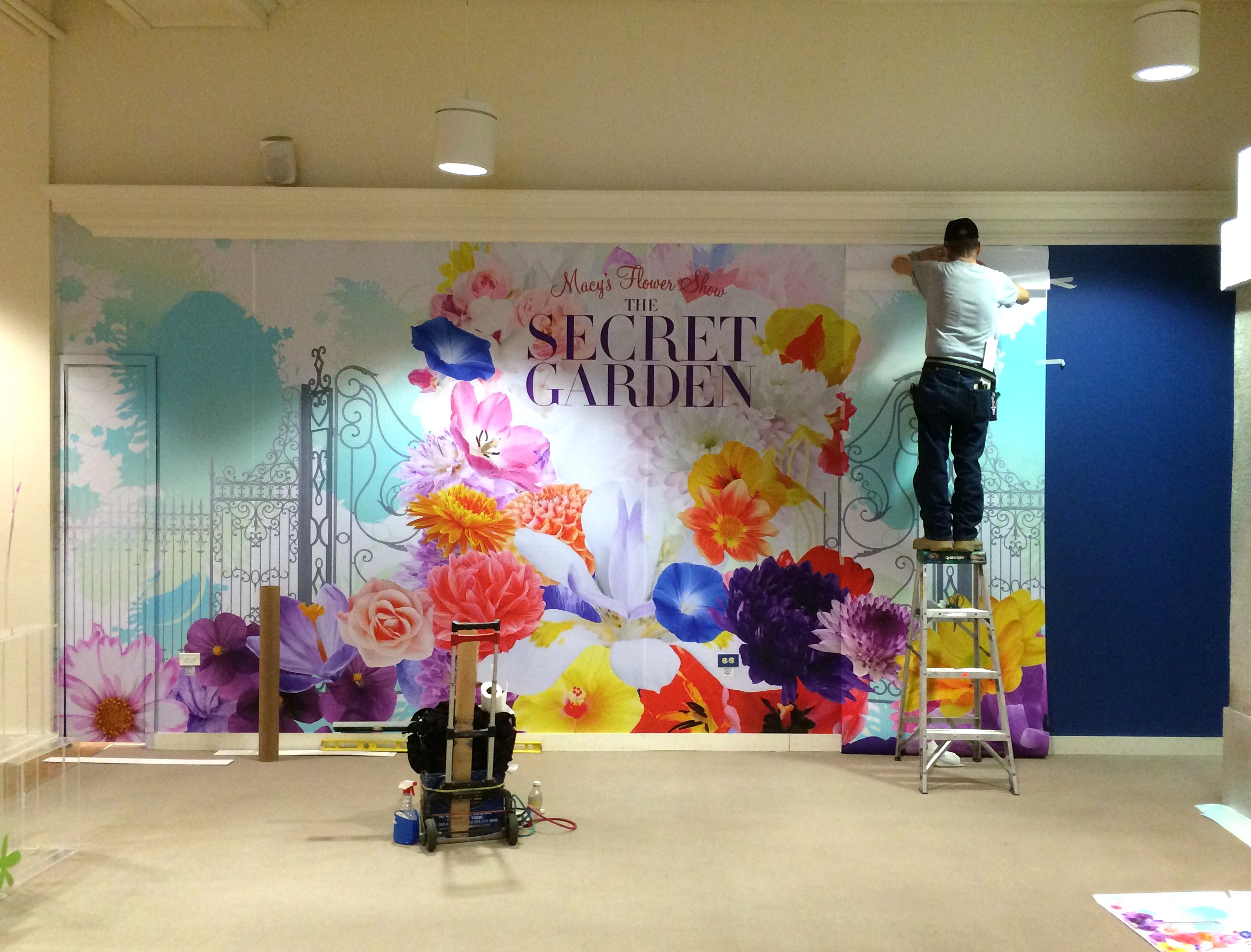 Wall flowers with print n stick fabric lexjet blog installing the macys spring flower show wall mural was a breeze with print n amipublicfo Image collections