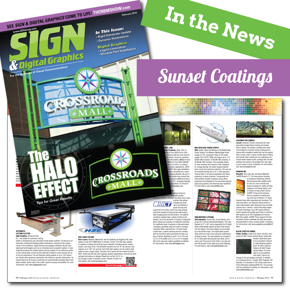 Sunset Coatings Featured in Sign & Digital Graphics Magazine