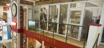 Morley created this elaborate two-story trade show exhibit for Dearborn, Mich.-based clothing manufacturer Carhartt.