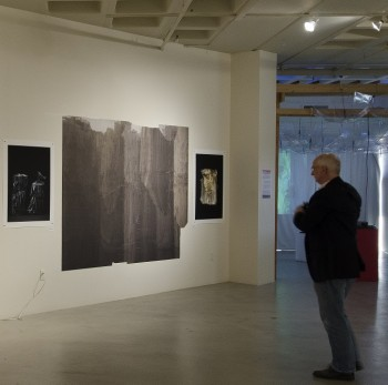 A visitor to the CoCA exhibit examines photography installations by artist Laurent Segretier. Photo credit: Annie Lukin