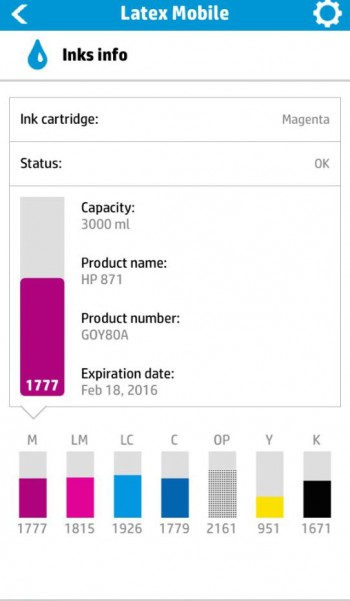 HP Latex Mobile app ink level details.