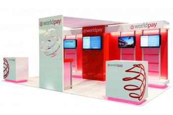 WorldPay Ltd.'s 2014 display, designed by Deckel & Moneypenny Exhibits, won Best Reconfigurable Exhibit.