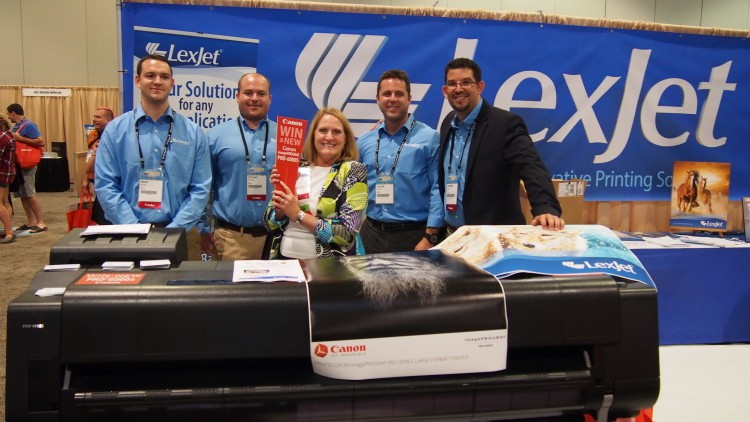 Canon PRO-6000S winner Lynne Lee with the LexJet team.