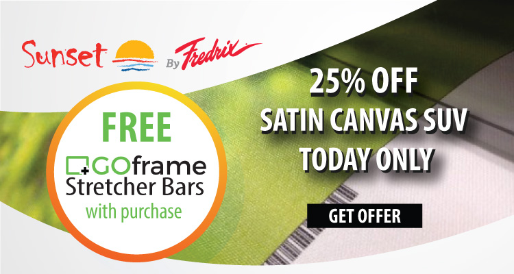 MONDAY: 25% Off Sunset by Fredrix Satin Canvas SUV + Free Pack of GOframe Stretcher Bars