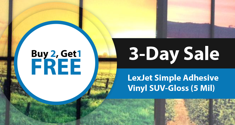3-Day Sale: Buy 2 Get 1 Free: LexJet Simple Adhesive Vinyl SUV