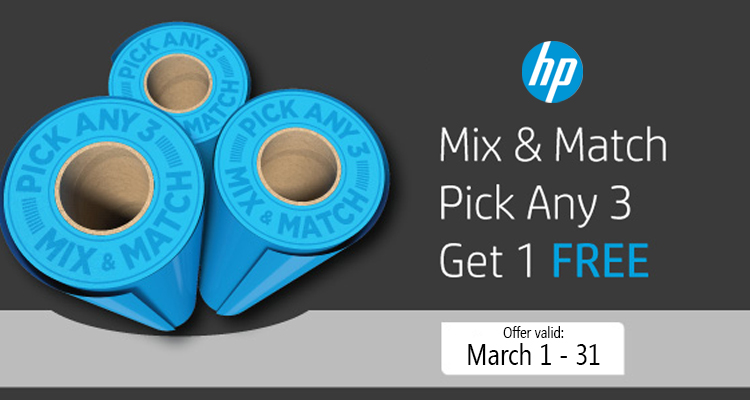 March Offer: Pick 3 HP Media Rolls & Get 1 of Them Free